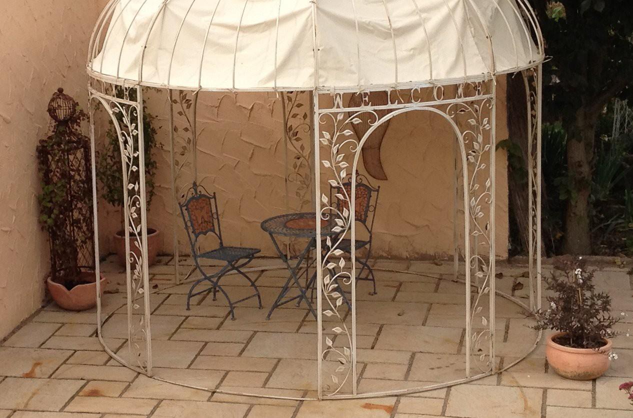 pavillion metall pavillon pavilion laube schmiedeeisen rondo weiss antik ebay. Black Bedroom Furniture Sets. Home Design Ideas