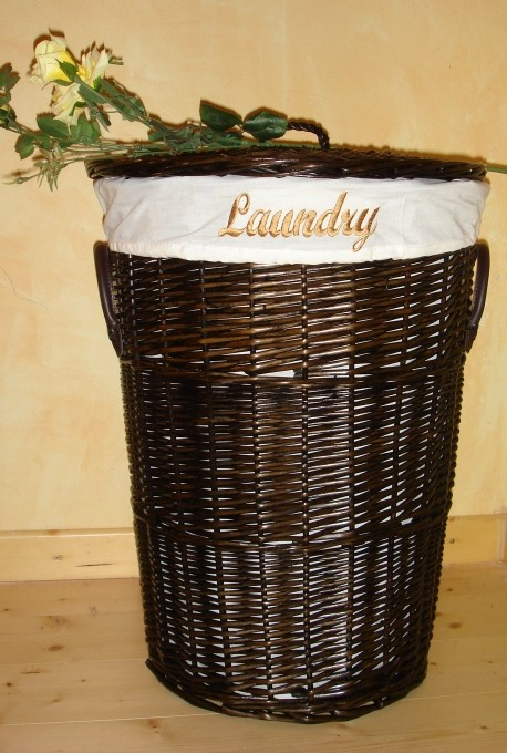 landhaus rattan w schekorb rondella1 45cm dunkel braun ebay. Black Bedroom Furniture Sets. Home Design Ideas